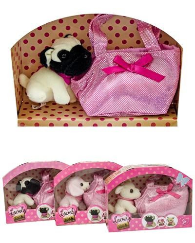 Мягк.игрушка 89006  6 видов собачек с сумочками, размер (9*11 см), в кор.20*6*15см