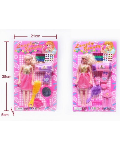 "Кукла типа ""Б"" 9217/9218 2вида, с расческой, феном, аксессуарами, на планш.38*21*5cм"