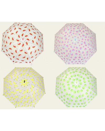 Зонт CLG17218  4 вида, матовая клеёнка, длина трости - 75см, купол - 90см
