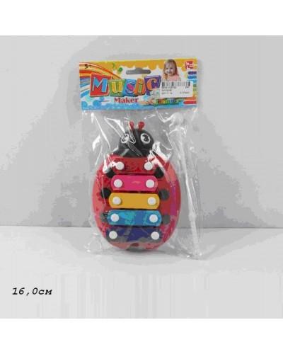 """Ксилофон 30102AB """"Жучек"""" 2 вида, в пакете 16 см"""