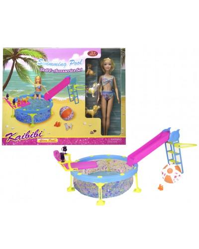 """Кукла типа """"Барби"""" BLD112  с питомцами, бассейн с горкой, в кор.42*7*33см"""