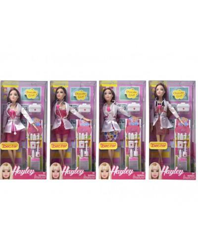 """Кукла типа """"Барби""""Доктор"""" HB003  4 вида, чемодан, мед аксессуары, в кор.16*33*6см"""