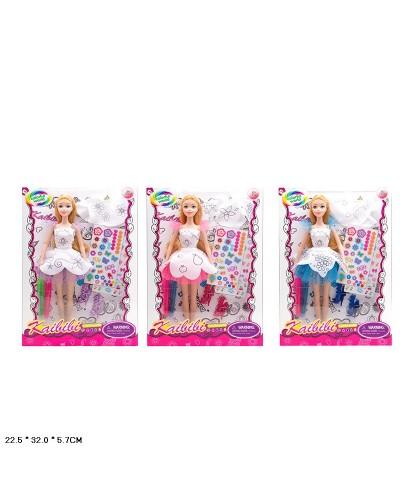 "Кукла типа ""Барби""Модельер"" BLD169/-1 3вид, фломастеры д/платья, наклейки, кор.22,5*6*32см"