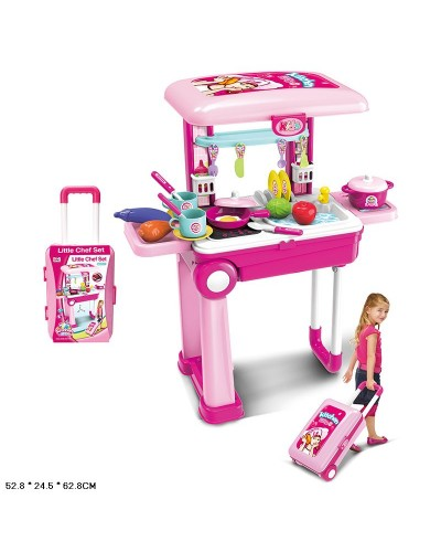 """Набор """"Кухня"""" 008-921A  чемодан превращ. в кухню, плита, посуда, продукты в кор. 52,8*24,5*62,8см"""