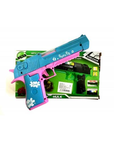 Пистолет батар. 228B-2/3/4/5  1 вид розовый, батар., свет, в кор.