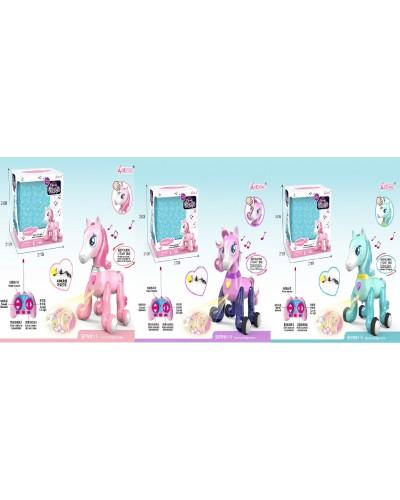 Животное на р/у 1031A/32A/33A лошадка, USB, проектор, пульт управления, 3 вида, в кор.28*21*27с