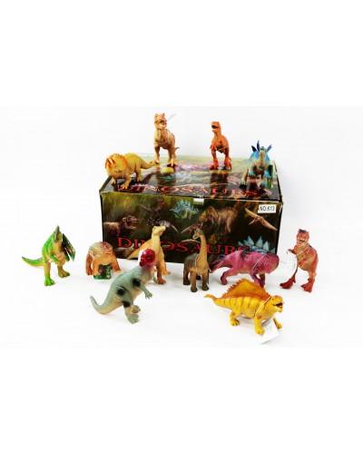 """Животные резиновые K13  36 шт в боксе """"Динозавры"""" ассорти, 30*24*13см"""
