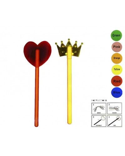 Игровой н-р GHCW  сердце, корона, светящиеся, 2 микс по 6 цветов, в пакете 28*12см