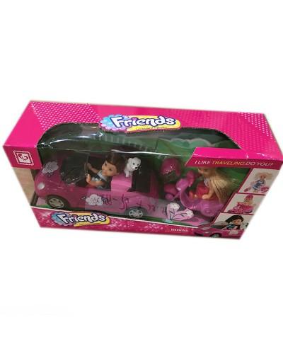 Кукла маленькая K899-75  две куколки в наборе, машина, мотоцикл, питомец, шлем, кор.38*12*20см