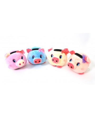 Мягкая игрушка-копилка свинка M03061  4 вида микс,  в пакете