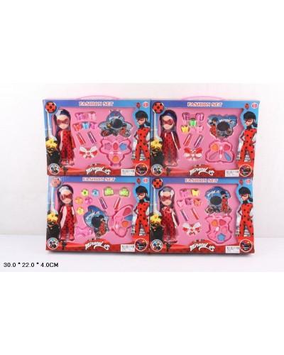 """Косметика""""M"""" WJ268 4 вида, с куклой, набор заколок, косметики, в кор.30*22*4см"""