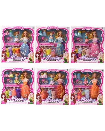 Кукла  YX030A 8 видов, с куколкой, набором платьев, аксесс, в кор.30*4,5*32,5