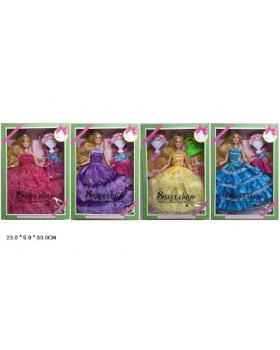 """Кукла типа """"Барби"""" WX501-2/4/5/6  72шт/2  4 вида, шарнир, с платьем, аксесс, в кор.23*5*33  см"""