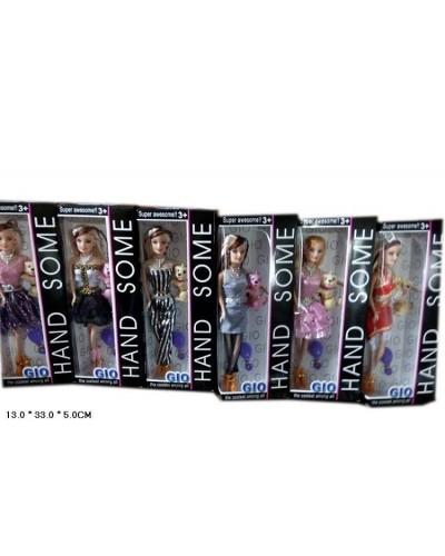 """Кукла типа """"Барби"""" ZH331  144шт/2  6 видов, с питомцем,расческой в кор. 13*33*5см"""