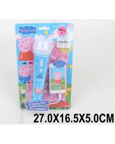 Микрофон DS-004-1F  свет, музыка, на планшетке 27*16,5*5см