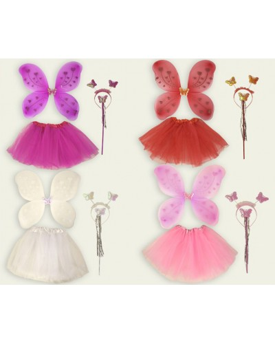 """Аксессуары """"Костюм бабочки""""CEL-175 , 4 вида,  крылья,  волш.палочка, юбка, в пакете 50*55см"""