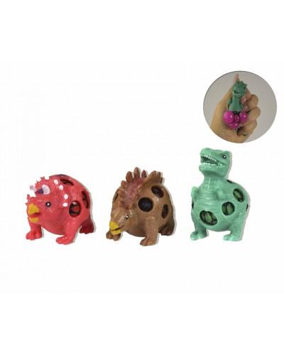 Антистресс CLR227 динозавры 3 вида, лизун в сетке, 9*6см,12шт в дисплей боксе 28*20*6см