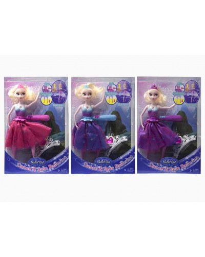 "Кукла ""F"" HB007B 3 вида, свет/муз, танцует, с диадемой, в кор.23*6*35см"