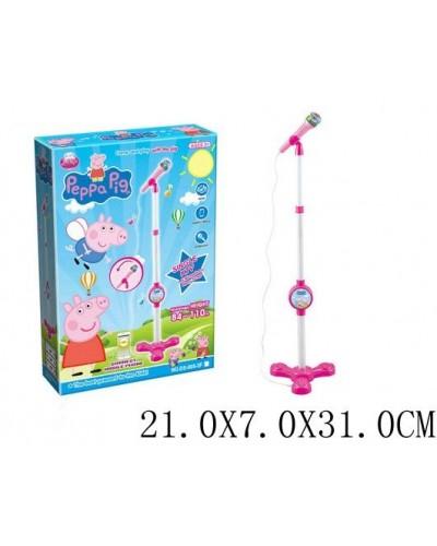 Микрофон DS-005-3F стойка,свет,музыка,в коробке 21*7*31см