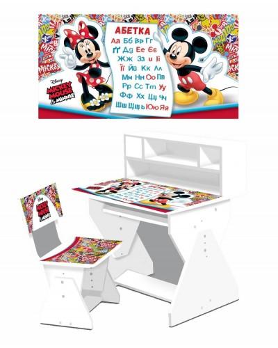 Парта Mickey Mousel с полками 2018-04 столешница открывается, внутри ящик, со стульчиком в кор.65