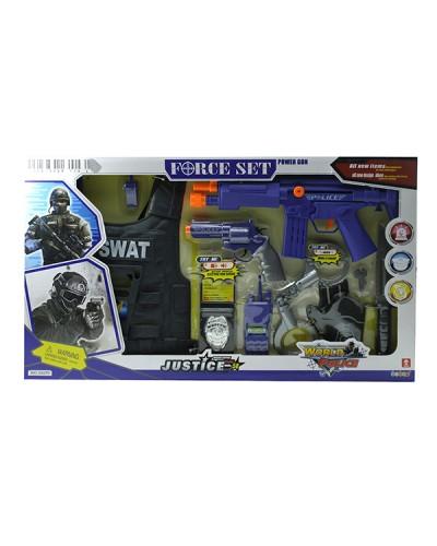 Полицейский набор 34270  жилет часы, рация, оружие, в кор. 66*38*6см