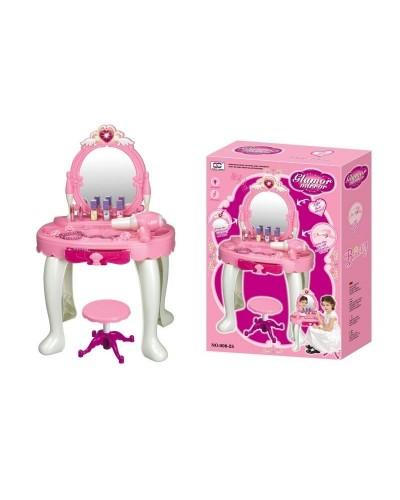 Туалетный столик 008-25  батар.,  стульчик,  зеркало,  фен,  расческа,  в кор. 57*40*14см