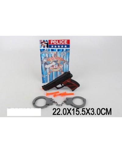 Полицейский набор 30-18 пистолет, присоски, наручники, в пакете 22*15,5*3 см