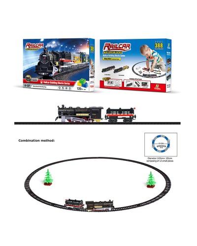 Железная дорога 1608-3A батар., 120дет., поезд, 1 вагон, свет, звук, в кор.7*26*38см