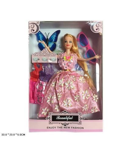 Кукла 265F  микс видов, набор платьев, очки, в кор.33*23*5см