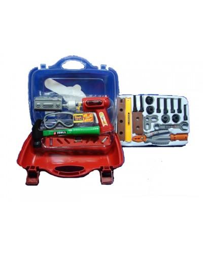 Набор инструментов 2064 дрель, отвертка, молоток  и т.д. в пласт чемодане 31*21*10 см