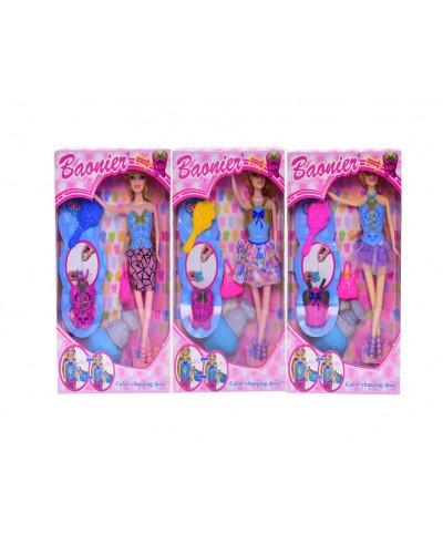 """Кукла типа """"Б"""" JJ8590-1G 4 вида, шарнир, с аксесс, меняет цвет платья от воды, 29см, в кор."""