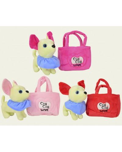Мягкая игрушка CLR109 3 вида собачек в сумках, со звуком лай и тявканье, размер 26*22 см