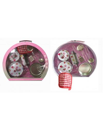 Посуда металл PY555-65 кастрюли, сковорода, половник, лопатка, прихватка, чемодан