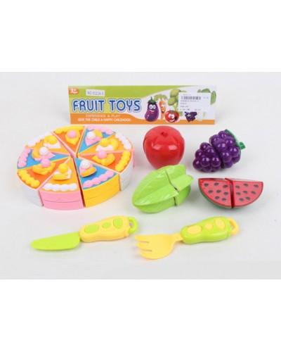 Продукты 5023A-5 торт и овощи делятся пополам, нож, вилка, в пакете 15,5*15,5*3,5 см