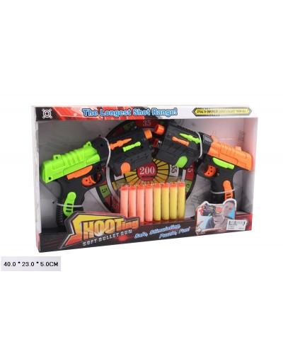 Бластер H1100A-3 2 бластера, стреляет поролон. снарядами, мишень, в откр. коробке 40*23*5см