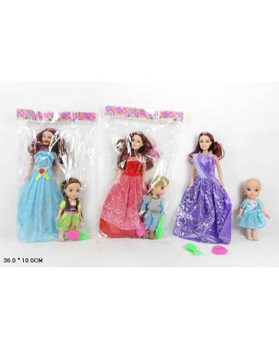 Кукла  XM18E с  мал.куколкой в наборе, 3 вида микс, в пакете 36*10 см