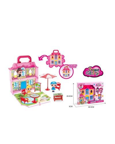 """Домик """"L"""" 588-4 с куколками, мебелью, зонтиком, аксес., в кор. 29,5*9*38,5 см"""