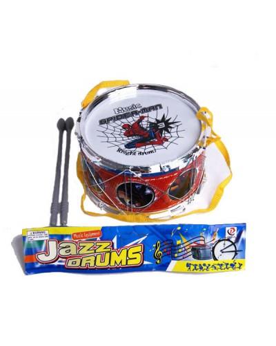 """Барабан 118A (96шт/2)""""Спайдермен"""" с палочками, в пакете 17*10см"""