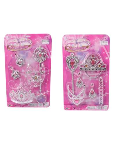 Аксессуары для девочек 905/904 2вида, волш. палочка, диадема, серьги, ожерелье на планш. 38*26*5