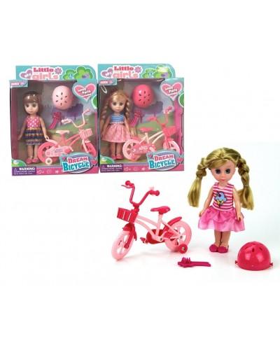 Кукла маленькая 63004  2 вида, велосипед, шлем, расческа, в кор.18,5*6,5*24см