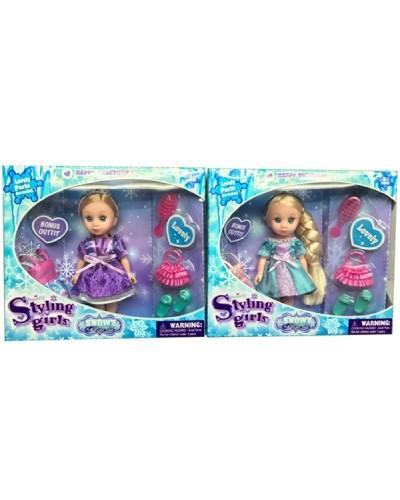 Кукла маленькая 63013 2 вида, расческа, сумочка, туфельки, в кор.20*6*18 см