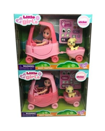 Кукла маленькая 63021 2 вида, машина, питомец, акс, в кор.21*28,5*11см