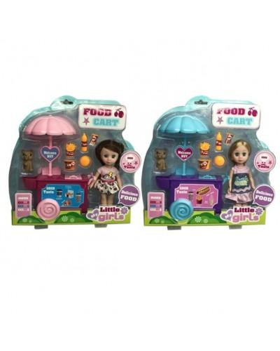 Кукла маленькая 63022 2 вида, тележка, продукты, питомец, акс, в кор.30*31*7см