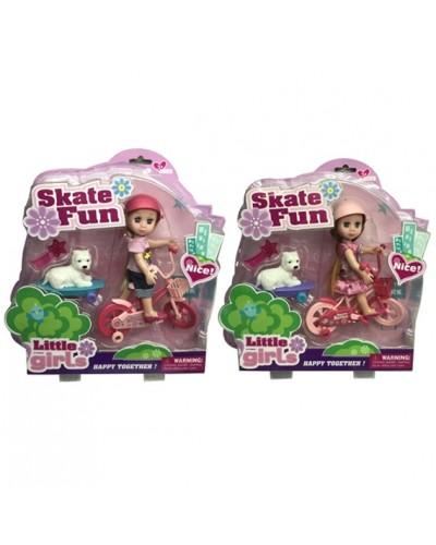 Кукла маленькая 63023  2 вида, велосипед с прицепом, питомец, акс, в кор.30*30*8см