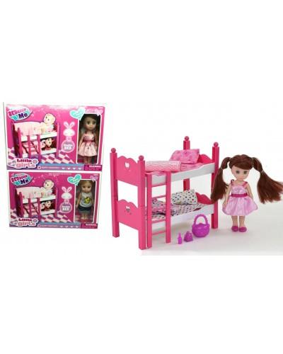 Кукла маленькая 63006W 2 вида,кроватка двухярусная,аксесс,в кор.26,5*6*18см