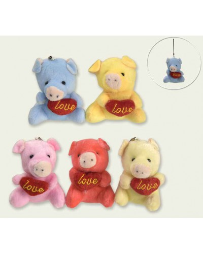 Мягкая игрушка CLR156 свиньи-брелок, микс цветов, 9см