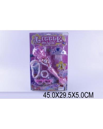 Волшебная палочка 005-1 свет/муз, бусы, браслет, серьги, очки, диадема, на планш.