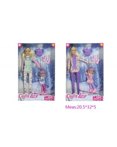 """Кукла """"Defa Lucy"""" 8356 2 вида, в зимней одежде, с куколкой на лыжах,аксес, в кор.20,5*32*5см"""