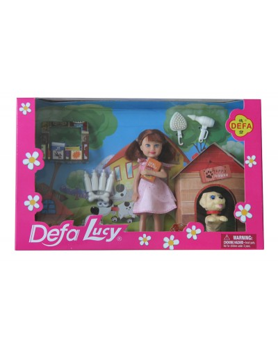 "Кукла ""Defa Lucy"" 8281 собачка,бутылка,косточкад,в кор,27,5*17*6 см"
