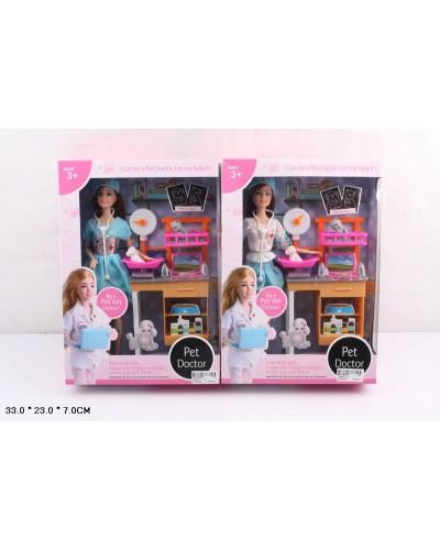 "Кукла ""Доктор"" JX200-17  2 вида, мед столик, с аксесс, в кор.33*7*23см"